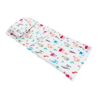 "Thro 55x60"" Larry Llama Fleece Sleeping Bag with Attached 18x22 Pillow"