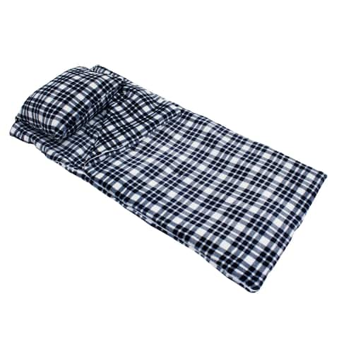 "Thro 55x60"" Cassidy Classic Plaid Fleece Sleeping Bag with Attached 18x22"" Pillow"
