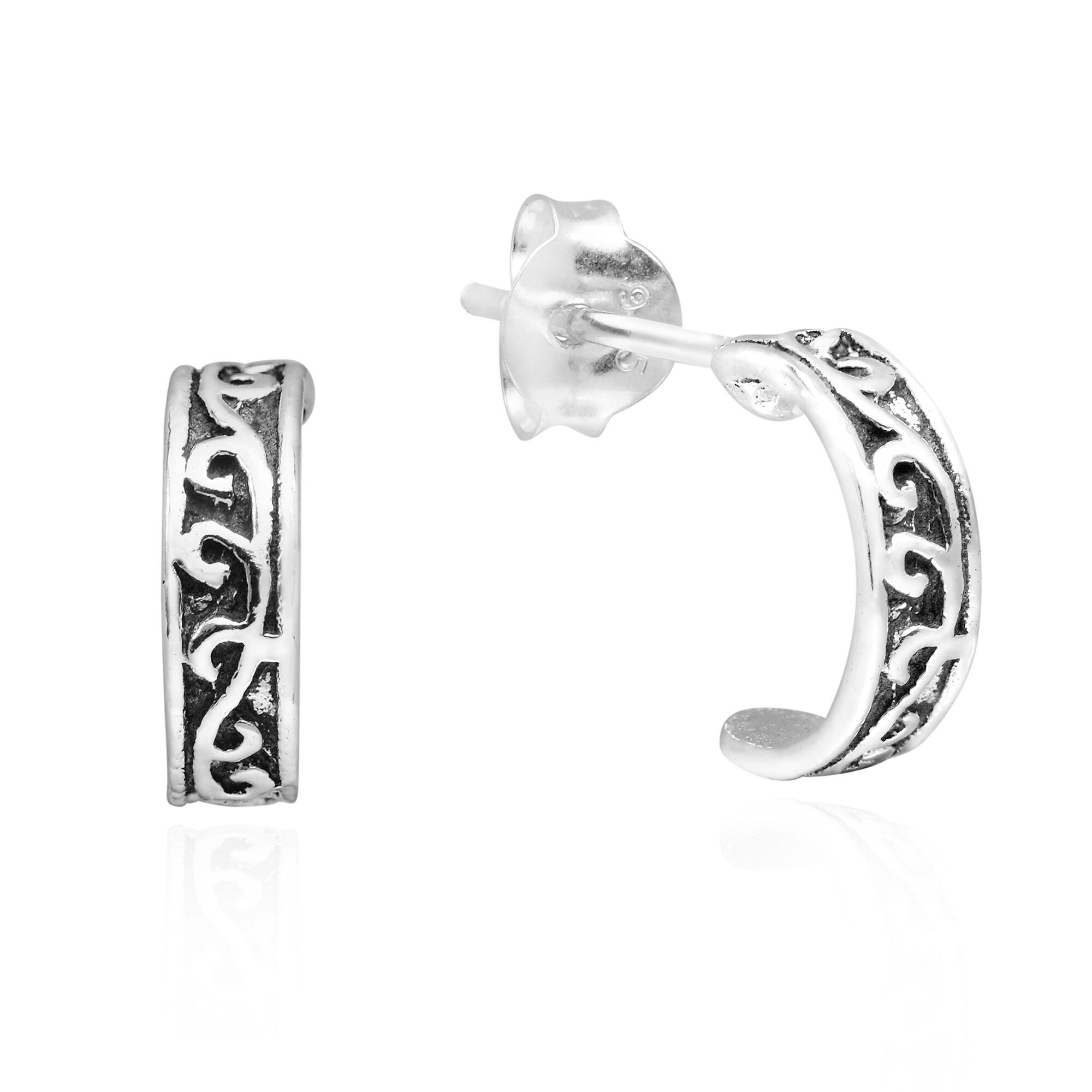 925 Sterling Silver Twisted Half Hoop Design Stud Earrings