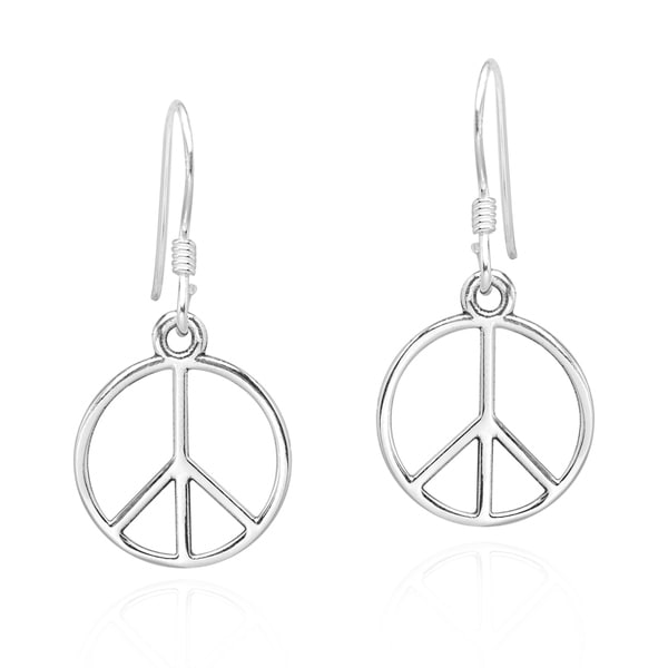 a86edfaec Handmade Modest Peace Sign and Harmony Symbol .925 Sterling Silver Earrings  (Thailand)