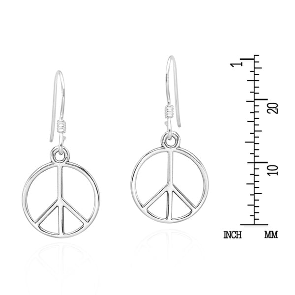 Dangling Peace Sign on Hoop Earrings 925 Sterling Silver