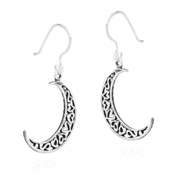 Ear Wires Dangling NEW 925 Sterling Silver Crescent Moon Dangle Earrings