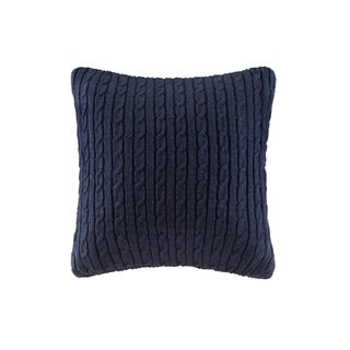 Woolrich Ryland Blue Cable Knit Square Pillow Navy