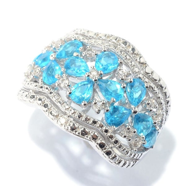Platinum Over Sterling Silver Sky Blue Topaz Solitaire Ring 3MM Comfort Band