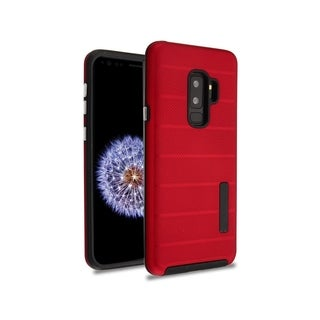 Insten Red/Black Dots Textured Fusion Dual Layer Hybrid PC/TPU Rubber Case Cover for Samsung Galaxy S9 Plus
