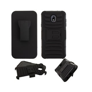 Insten Black Advanced Armor Hybrid Stand PC/TPU Rubber Holster Case for Samsung Galaxy J7 (2018)/J7 Refine/J7 V 2nd Gen (2018)
