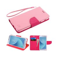 Insten Hot Pink Stand Folio Flip Leather Wallet Flap Pouch Case Cover With Diamond Compatible Samsung Galaxy Express Prime 3