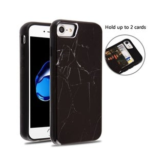 Insten Wallet Marble Dual Layer Hybrid PC/TPU Rubber ID/Card Slot Case Cover Compatible With Apple iPhone 7/ iPhone 8