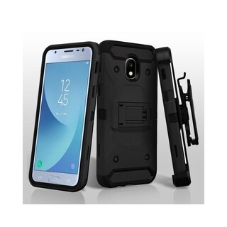 Insten Kinetic Hybrid Stand PC/TPU Rubber Holster Case for Samsung Galaxy Express Prime 3/J3 (2018)/J3 Achieve/J3 Star