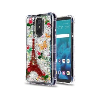 Insten Tuff Quicksand Glitter Paris Monarch Butterflies Hybrid PC/TPU Rubber Case Cover for LG Stylo 4/Stylo 4 Plus, Multi-Color