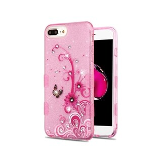 Insten Tuff Butterfly Flowers Dual Layer Hybrid PC/TPU Rubber Case Cover for Apple iPhone 6 Plus/6s Plus/7 Plus/8 Plus, Pink