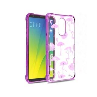 Insten Clear/Purple Tuff Klarity Flamingo PC/TPU Rubber Case Cover With Diamond Compatible LG Stylo 4/Stylo 4 Plus