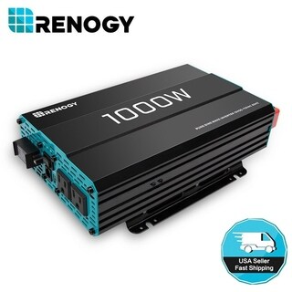 Renogy 1000W 12V Pure Sine Wave Solar Inverter 1000 Watt Power Battery Converter - Black