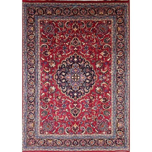 """Vintage Mashad Handmade Wool Persian Medallion Dining Room Area Rug - 10'11"""" x 8'0"""""""