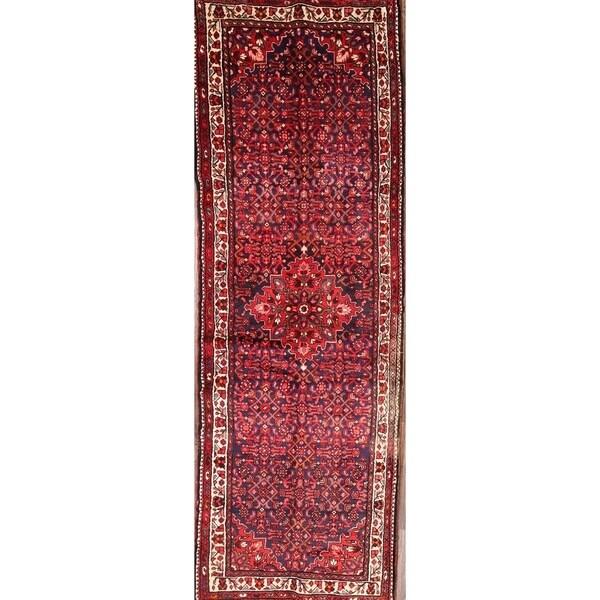 "Hamadan Hand Made Wool Persian Geometric Rug - 10'10"" x 3'8"" runner"