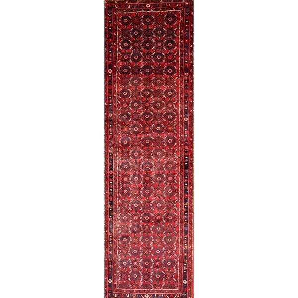 "Hossainabad Hand Made Persian Geometric Rug - 12'1"" x 3'8"" runner"