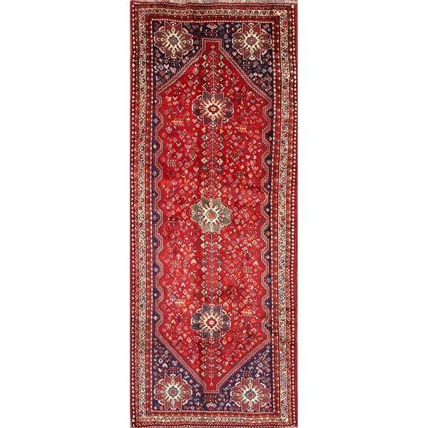 "The Curated Nomad Dunwoodie Red Shiraz Persian Handmade Wool Heirloom Item Area Rug - 10'8"" x 4'1"" runner"