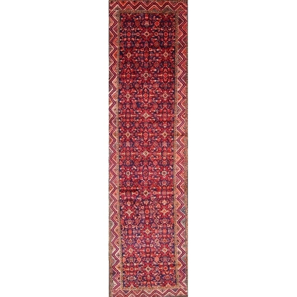 "Hamadan Handmade Vintage Geometric Persian Wool Rug - 13'2"" x 3'6"" runner"