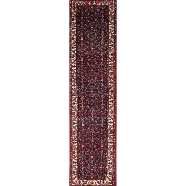 "Classical Hamadan Classical Persian Handmade Geometric Rug - 12'9"" x 3'3"" runner"
