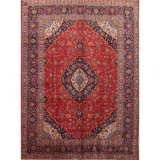 "Kashan Traditoinal Persian Hand Knotted Wool Medallion Area Rug - 13'3"" x 9'9"""