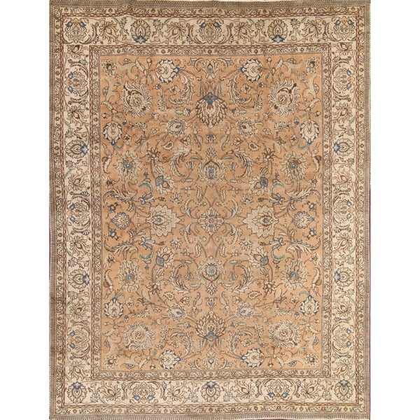 "Traditional Tabriz Vintage Persian Handmade Wool Oriental Area Rug - 12'8"" x 9'6"""