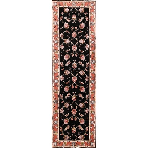 """The Curated Nomad Banks Geometric Wool Hand-knotted Wool/Silk Persian Rug - 8'0"""" x 2'6"""" runner"""