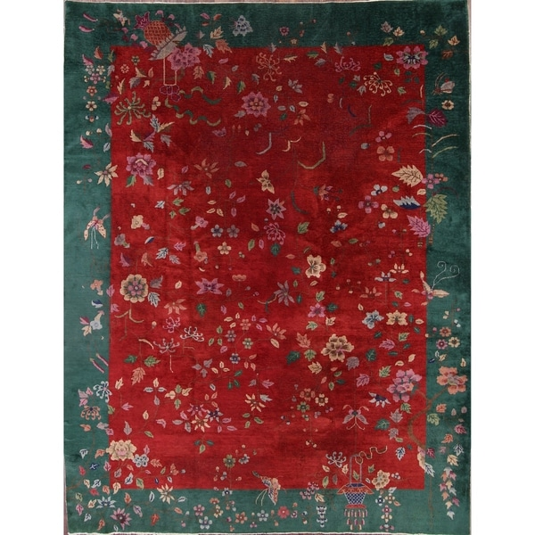 "Antique Art Deco Nichols Chinese Oriental Traditional Floral Area Rug - 11'8"" x 8'11"""