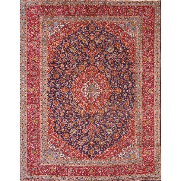 """Kashan Vintage Persian Traditoinal Handmade Wool Medallion Area Rug - 12'8"""" x 9'8"""""""