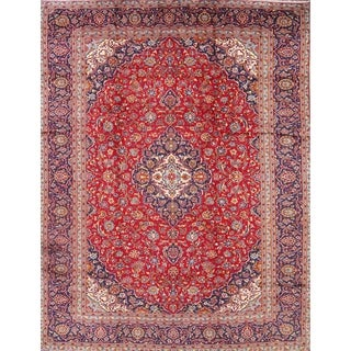"Kashan Hand Knotted Wool Medallion Persian Traditional Area Rug - 12'8"" x 9'2"""