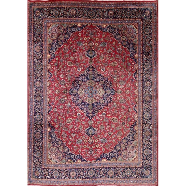 "Vintage Handmade Wool Kashmar Persian Medallion Area Rug For Bedroom - 12'11"" x 9'8"""