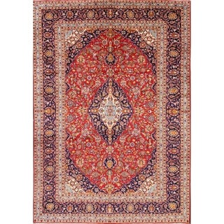 """Kashan hand knotted Persian Wool Medallion Area Rug for Office Room - 11'9"""" x 8'1"""""""