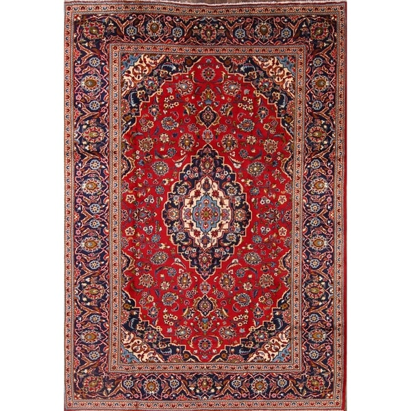 "Hand Knotted Wool Medallion Kashan Persian Area Rug For Living Room - 11'8"" x 8'2"""