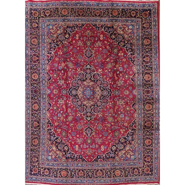 Shop Classical Kashan Medallion Hand Knotted Persian Wool: Shop Kashmar Hand Knotted Wool Medallion Persian Area Rug