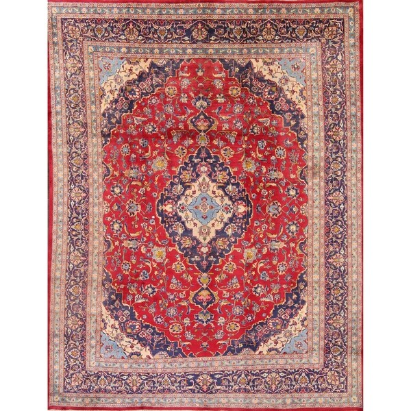 """Kashan Hand Knotted Persian Vintage Medallion Area Rug for Dining Room - 12'6"""" x 9'6"""""""