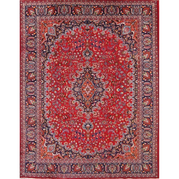 "Mashad Hand Knotted Persian Vintage Medallion Area Rug For Living Room - 12'6"" x 9'9"""
