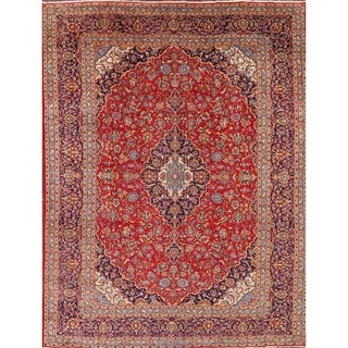 "Floral Medallion Hand Made Vintage Kashan Classical Persian Area Rug - 12'10"" x 9'9"""