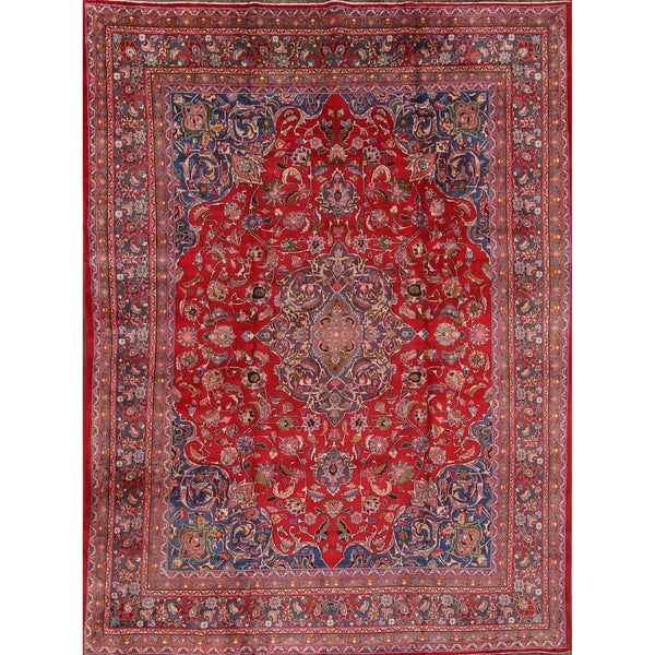 """Vintage Hand Made Mashad Persian Medallion Area Rugs For Bedroom - 12'7"""" x 9'6"""""""
