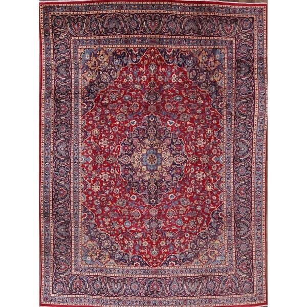 """Vintage Handmade Wool Kashmar Persian Medallion Dining Room Area Rug - 12'10"""" x 9'3"""""""