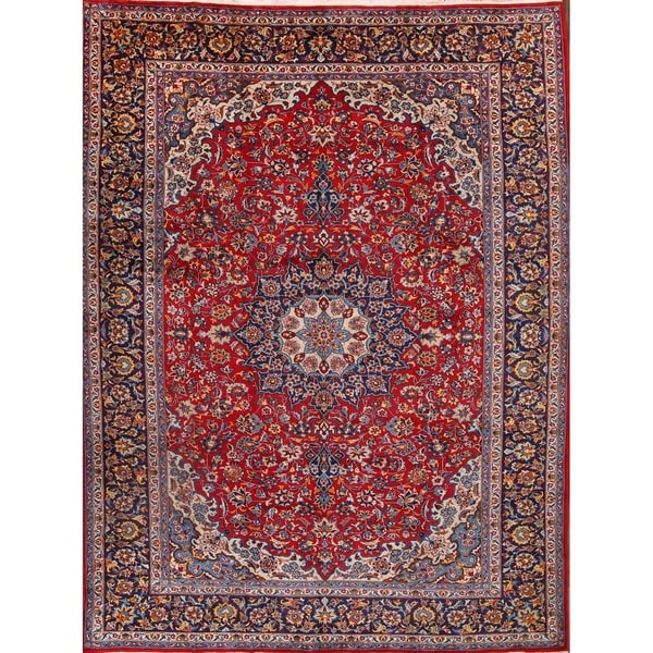 "Vintage Traditional Isfahan Persian Handmade Wool Floral Area Rug - 12'4"" x 10'0"""
