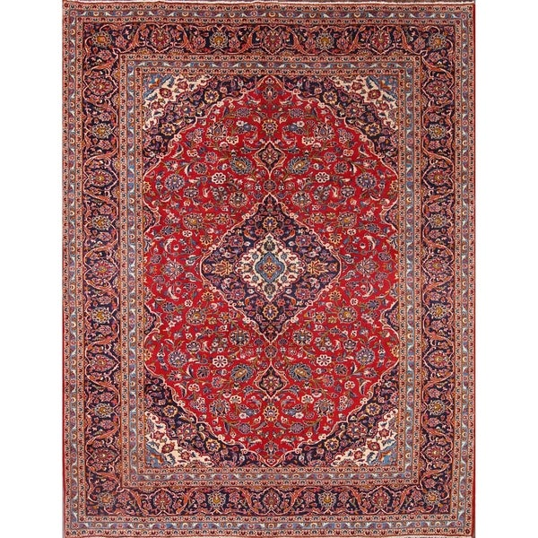 "Kashan Hand Knotted Persian Wool Medallion Area Rug For Living Room - 12'4"" x 9'9"""
