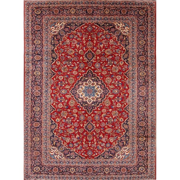 Hand Knotted Persian Kashan Wool Area Rug Ebth: Shop Kashan Hand Knotted Wool Medallion Persian Area Rug