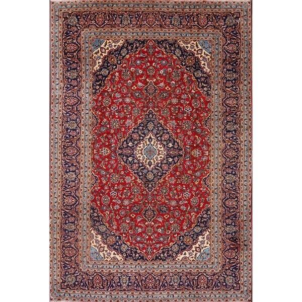 "Medallion Handmade Wool Kashan Persian Area Rug For Dining Room - 11'7"" x 8'0"""