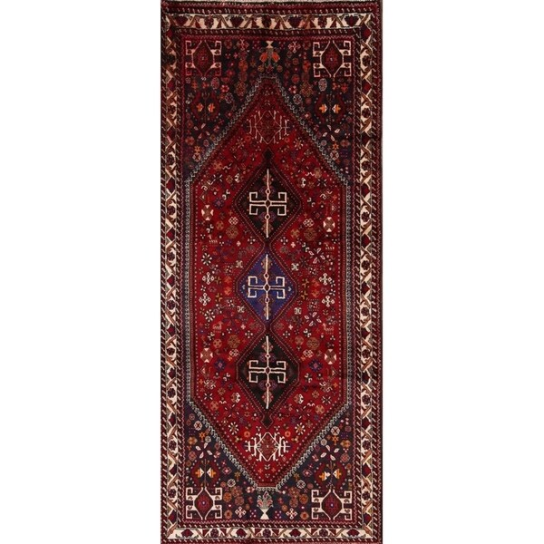 """The Curated Nomad Polastri Hand-knotted Wool Geometric Persian Heirloom Item Area Rug - 8'9"""" x 3'6"""" runner"""