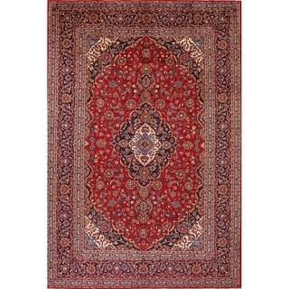 """Vintage Kashan Hand Knotted Wool Persian Medallion Livingroom Area Rug - 13'3"""" x 9'4"""""""