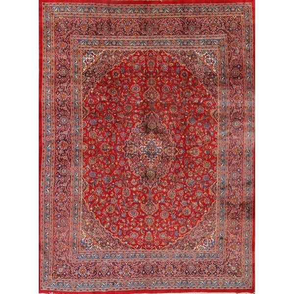 Shop Classical Kashan Medallion Hand Knotted Persian Wool: Shop Medallion Mashad Hand Knotted Wool Persian Area Rug