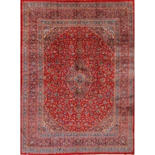"""Medallion Mashad Hand Knotted Wool Persian Area Rug For Dining Room - 12'7"""" x 9'9"""""""
