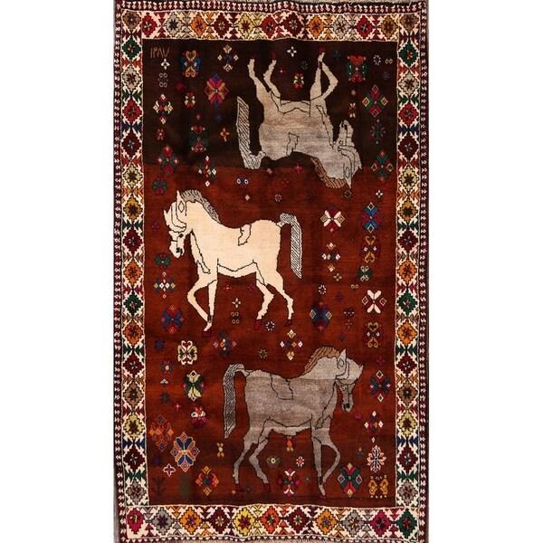 "Gabbeh Shiraz Hand Made Wool Persian Tribal Living Room Area Rug - 7'5"" x 4'5"""
