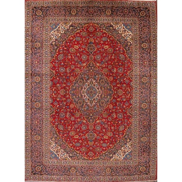 """Vintage Kashan Hand Knotted Medallion Persian Area Rug For Dining Room - 13'2"""" x 10'0"""""""