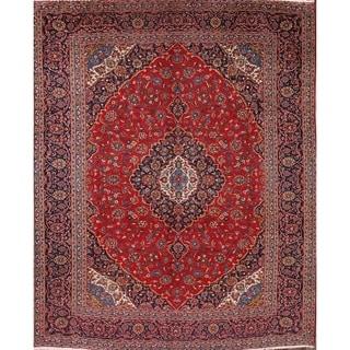 """Vintage Kashan Handmade Wool Persian Medallion Area Rug - 12'9"""" x 9'9"""""""