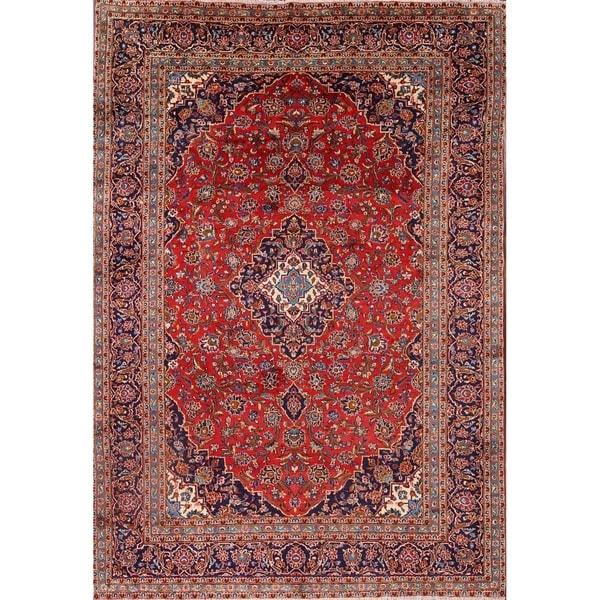 "Medallion Kashan Persian Handmade Area Rug for Bedroom Wool - 11'7"" x 8'3"""